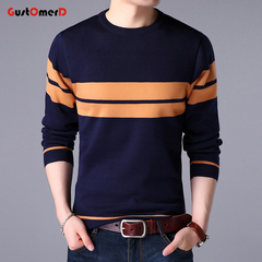 GustOmerD New Pullover Striped Men Sweater Dress Thick Warm Sweaters Mens Slim Fit Knitwear navy 165/85a