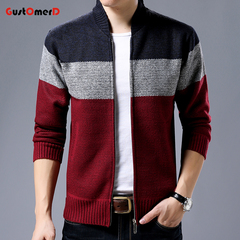 GustOmerD New FashionClothing Jacket Men Casual Mandarin Collar Gradient knitting Zippers Mens Coats navy 180/100a