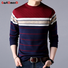 GustOmerD Men Fashion Trend O-Neck Slim Fit Winter Mens Knitted Pullover Casual Sweater wine red 165/85a