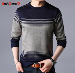 GustOmerD New Pullover Striped Men Sweater Dress Thick  Knitted Sweaters Mens Wear Slim Fit Knitwear grey 165/85a