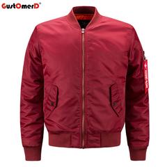 GustOmerD Mens Solid Flight Jacket Men's Rib Sleeve Zipper Short Air Force Baseball Coats Clothing red size s 50 to 58kg