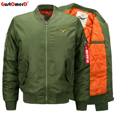 GustOmerD Men Winter Air Force One Flight Bomber Military Jacket Camouflage Army Jacket army green size m 58 to 65kg