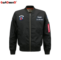 GustOmerD Men Flight Jacket Pilot Air Force Male Ma1 Army Green Military motorcycle Jackets Coats black size m 58 to 65kg