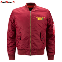GustOmerD New Plus Size Bomber jacket Men Air Force One MA1 Fashion Baseball Uniform Coat red size s 50 to 58kg