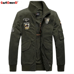 GustOmerD Plus Size Pure Cotton Cusual Stand Collar Long Sleeve MA1 Men Military Jacket army green size m 58 to 65kg