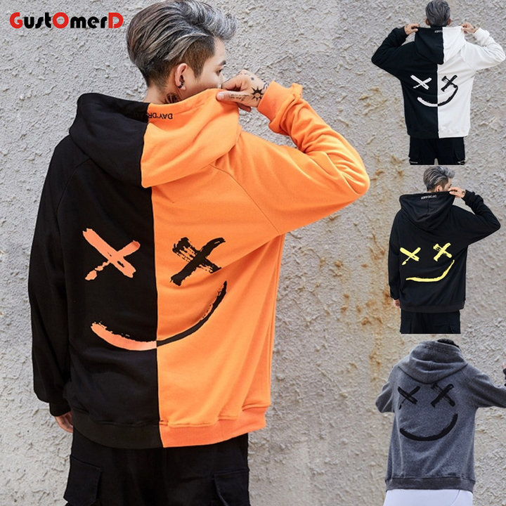 GustOmerD New Letter Patchwork Men Hoodies Sweatshirts Smile Print Headwear Hoodie Hip Hop black and yellow size m 58 to 65kg