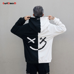 GustOmerD New Letter Patchwork Men Hoodies Sweatshirts Smile Print Headwear Hoodie Hip Hop black and white size 3xl 88 to 95kg