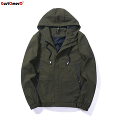 GustOmerD High Quality Jacket Men Hooded Casual Street Men Jacket Army Green Outerwear Plus Size army green size m 50 to 58kg