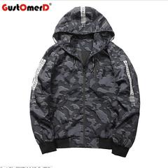 GustOmerD Mens Casual Camouflage Hoodie Jacket Waterproof Clothes Men's Windbreaker Coat Jacket dark grey size m 50 to 58kg