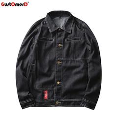 GustOmerD Solid Casual Slim Fit Mens Denim Jacket High Quality Streetwear  Hip Hop Jean Jacket Coat black size m 50 to 58kg