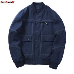 GustOmerD Casual Sunscreen Sportswear Thin Bomber Jacket Windbreaker Coat jackets dark blue size m 58 to 65kg