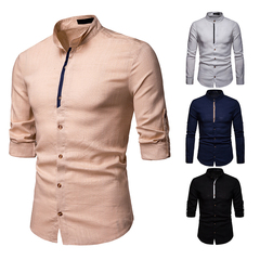 GustOmerD Fashion Small Label Sleeve Color Ribbon Design Cotton Shirt Men's Casual Long Sleeve Shirt khaki size s 50 to 58kg