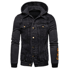 GustOmerD New Fashion Denim Jacket Men Casual Hooded Mens Coat Classic Jeans Mens Jackets And Coats Darkgrey EUR size S