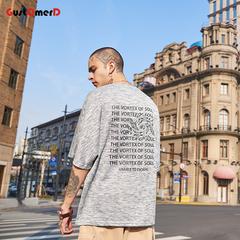 GustOmerD Man's T-shirt Short Sleeve Cotton Hip Hop Pattern Print Oversize Streetwear T-shirts light grey size m 58 to 65kg cotton & polyester