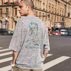 GustOmerD Mens Harajuku Short Sleeve Hip Hop T-shirts Streetwear Casual Cotton Print Clothes light grey size m 58 to 65kg cotton & polyester