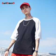 GustOmerD Mens Short Sleeve Korean Hip Hop T-shirts Streetwear Casual Patchwork Spliced Clothes black size m 58 to 65kg cotton & polyester