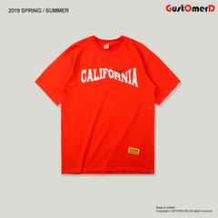 GustOmerD Cotton Fashion Men Print California Vintage Short Sleeves O-Neck California Bear T-shirt orange size s 50 to 58kg cotton & polyester
