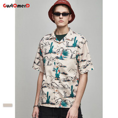 GustOmerD Hawaiian Shirts Short Sleeve Summer Beach Punk Hip Hop Holiday Streetwear Male Shirts as picture size s 50 to 58kg
