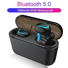 GustOmerD Bluetooth 5.0 Earphones TWS Wireless Blutooth Earphone Sports Earbuds Gaming  PK HBQ black