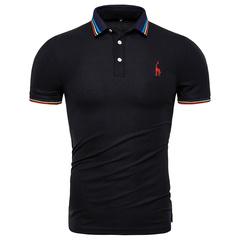 GustOmerD Men's t shirt men polo Shirts Casual Short Sleeve Slim Fit Cotton tee shirt black size XXL 80 to 88kg cotton & spandex
