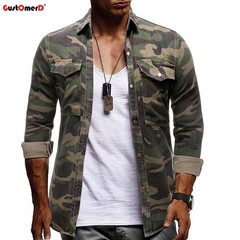 GustOmerD New Men Casual Camouflage Print Shirt Button Up Denim Cargo Shirt  Pocket Clothing army green size m 50 to 58kg