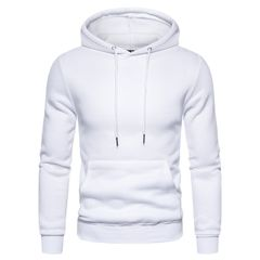 Solid Color Cotton Mens Hoodies Fleece Sweatshirt Men Soft Feel Sporting Men Hoodies size xxl 80 to 88kg white