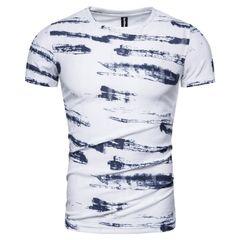 New 100% Cotton Print T-shirt Men Casual Slim Fit Men T Shirt O-neck High-quality Design Tshirt Men size l 65 to 72kg cotton blue