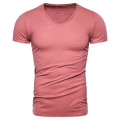 10 Colors V-neck T-shirt Men 100% Combed Cotton Solid Short Sleeve T Shirt Men Fitness Male Top Tees cotton white size s 50 to 58kg