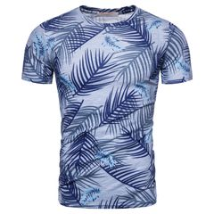 New 100% Cotton Print T-shirt Men Casual Hawaii Style Men T Shirt O-neck Tshirts Men Tops Tees size m 58 to 65kg cotton green