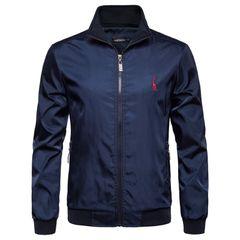 GustOmerD New Stand Colar Zipper Jacket Men Streetwear Bomber Jacket Windbreaker Mens Basic Jackets eur size m army green