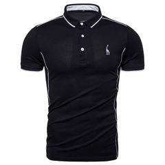 New Cotton POLO Shirt Men Turn Down Collar Casual Giraffe Brand Embroidery Mens Polos Male Tops Tees cotton & polyester size 2xl 80 to 88kg black
