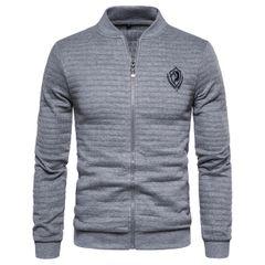 New Bomber Jacket Men Cardigan Stand Collar Jacket Men Casual Plaid Zipper Mens Coats and Jackets gray eur size s