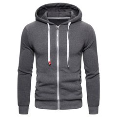 New Cotton Hoodied Mens Sweatshirts Solid Hoody Fleece Hoodies Men Sportswear Zipper Sweatshirts Men style 5 US size S 50-60kg