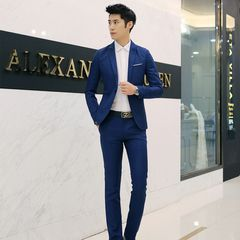 Men's Fashion Slim Suits Sets Business Casual Clothing Two-Piece Suit Pants Trousers Wedding Suits sapphire blue size 2xl 68 to 75kg