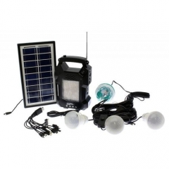 Solar Lighting System With MP3 Player,FM Radio And Rotating Bulb - GD8050 – Black black 5 metres 3-7