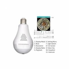 1080P Night Vision Camera 360 Degree Panoramic CCTV Security Wireless IP Wifi Light Bulb Camera white normal