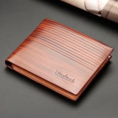 1pcs new men's short embossed wallet cross-section multi-card bit wallet card package Light brown one size