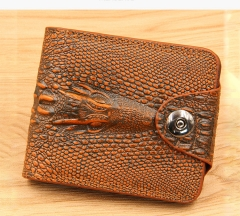Men's Genuine Leather, Short Section, Dark Button,Money Clip Purse Wallet Crocodile Pattern light brown one size