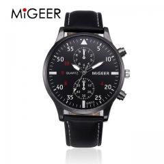 MIGEER 2017 Fashion Casual Mens Watches Luxury Leather Business Quartz-Watch Men Sport Wristwatch black