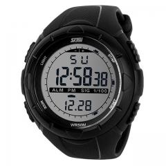 SKMEI Men Climbing Sports Digital Wristwatches Alarm Shock Resistant Waterproof Watch black