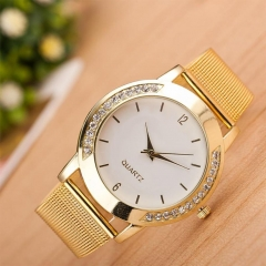 Fashion Women's Golden Metal Net Mesh Band Quartz Analog Round dial WristWatchSP As Picture
