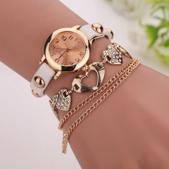 Heart Shape Crystal Alloy with Round Case Girls Women Ladies Bracelet Watch  AM White