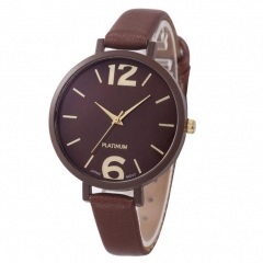 Stylish Women s Fashion Leather Band Analog Quartz Round Casual Wrist WatchG Coffee