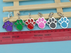 New fashion Pet accessories stainless steel 6 color dog tag footprints P` Red one size