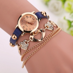 Heart Shape Crystal Alloy with Round Case Girls Women Ladies Bracelet Watch  AM Deep Blue