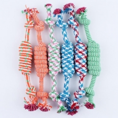 1pcs Chew Toy W/ Knot Fun Tough Strong Puppy Dog Pet Tug War Play Cotton Rope As Picture one size