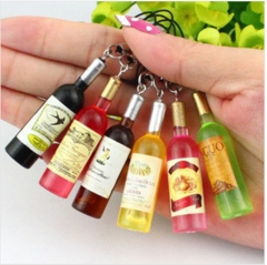 Mini Silicone wine bottle key buckle Bottle keyring Mobile phone Keychain GiftGG As Picture one size