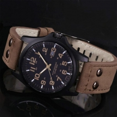 New Mens Fashion Sport Watches Men Military Leather Band Quartz Wrist Watch B GG As Picture