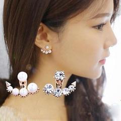 Fashion Shinning Earrings Pearl Diamond Ear Stud Speacial Asymmetric Style W:2W Silver On Size