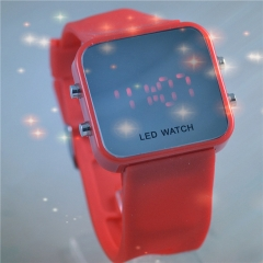Fashion LED square silicone ladies watch mirror surface 2015 watches  GF Red